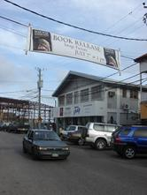 The banner which crossed North Front Street for Angela Gegg's book release on 7/7/7 at the Image Factory in Belize